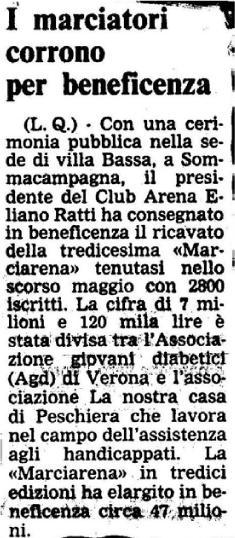 1990 - Articolo di giornale - i Marciatori e la beneficenza