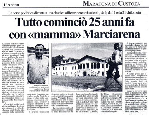 2001 - Articolo di giornale - 25 anni di Marciarena