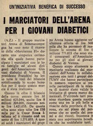 1981 - Articolo di giornale - Marciatori per i diabetici