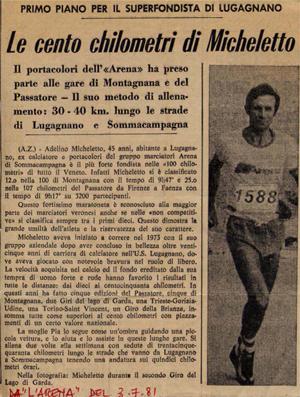1981 - Articolo di giornale - Le cento chilometri di Micheletto