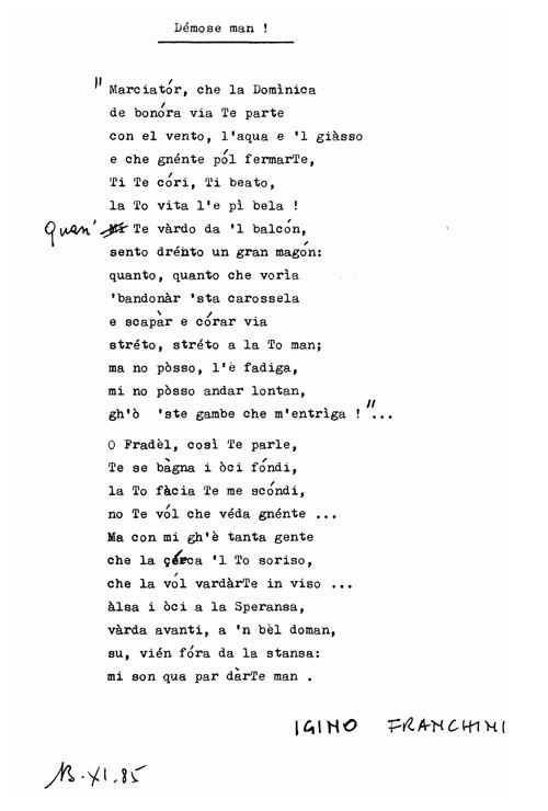 1985 - Poesia di Igino Franchini - Démose man !